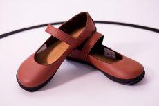 Ahinsa shoes Balerínka (hnědá se semišem) (Sundara)