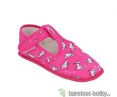 Barefoot Beda barefoot - užší bačkorky suchý zip -koník bosá