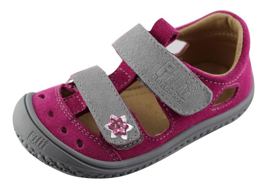 Barefoot Filii barefoot sandálky KAIMAN velcro velours pink/grey M bosá