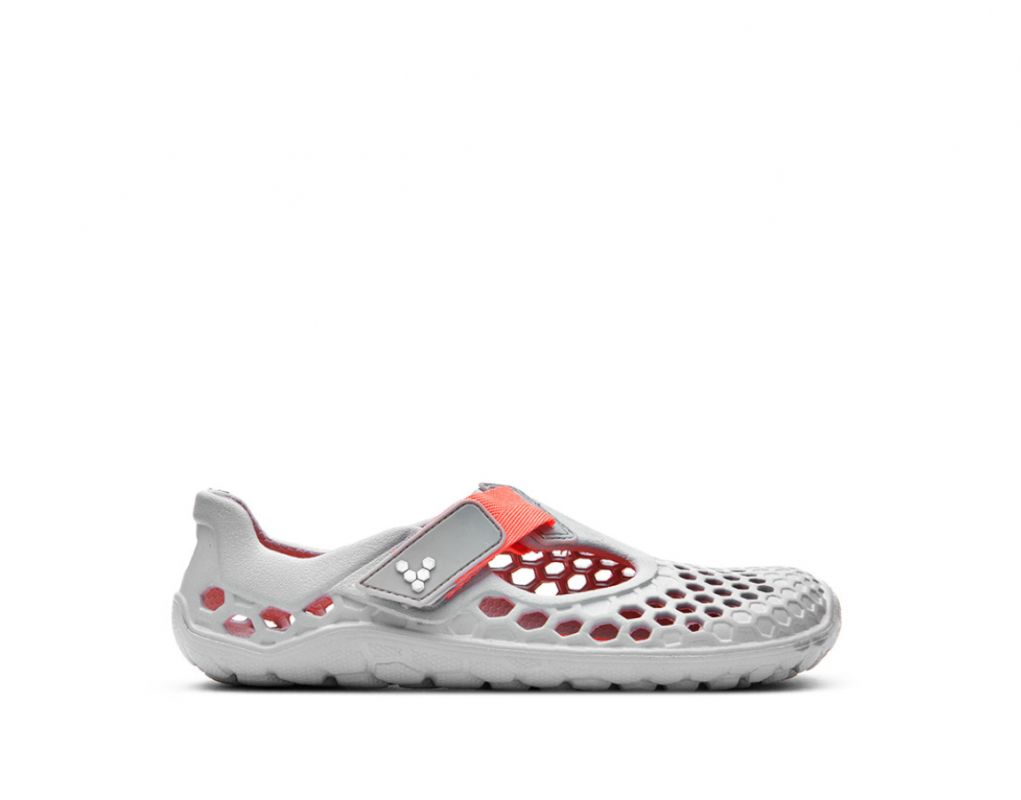 Barefoot Vivobarefoot ULTRA K Light Grey Neon Orange Bloom bosá