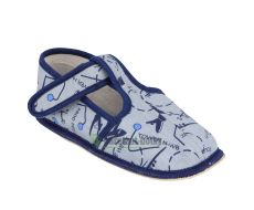 Barefoot Beda barefoot - užší bačkorky suchý zip -šedé s letadly bosá