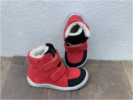 Barefoot BABY BARE WINTER red velur OKOP ASFALTICO BABY BARE SHOES bosá