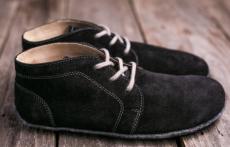Lenka Barefoot kotníčkové kožené boty -černé