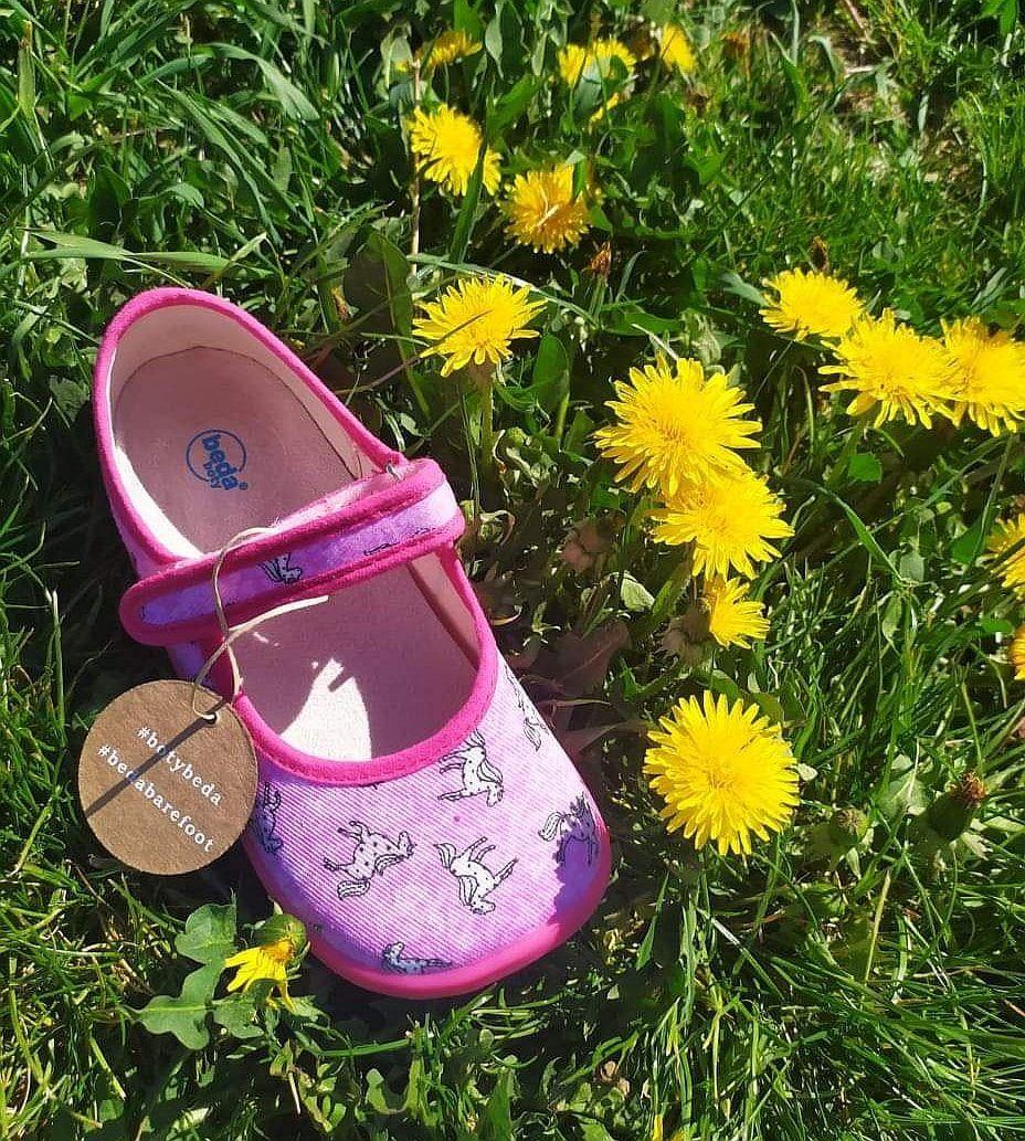 Barefoot Beda barefoot balerínky růžové s koníkem bosá