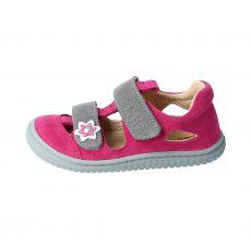 Filii barefoot sandals KAIMAN velours leather pink velcro M | 22, 32, 34, 35