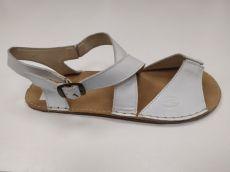Barefoot kožené sandále bílé- normální šíře