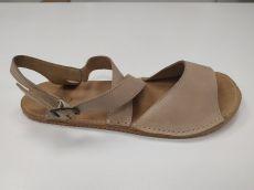 Barefoot kožené sandále béžové 02