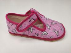 Beda barefoot - bačkorky suchý zip - růžová s koníkem