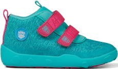 Dětské barefoot botičky Affenzahn Minimal Lowboot Knit Owl - Green/Pink