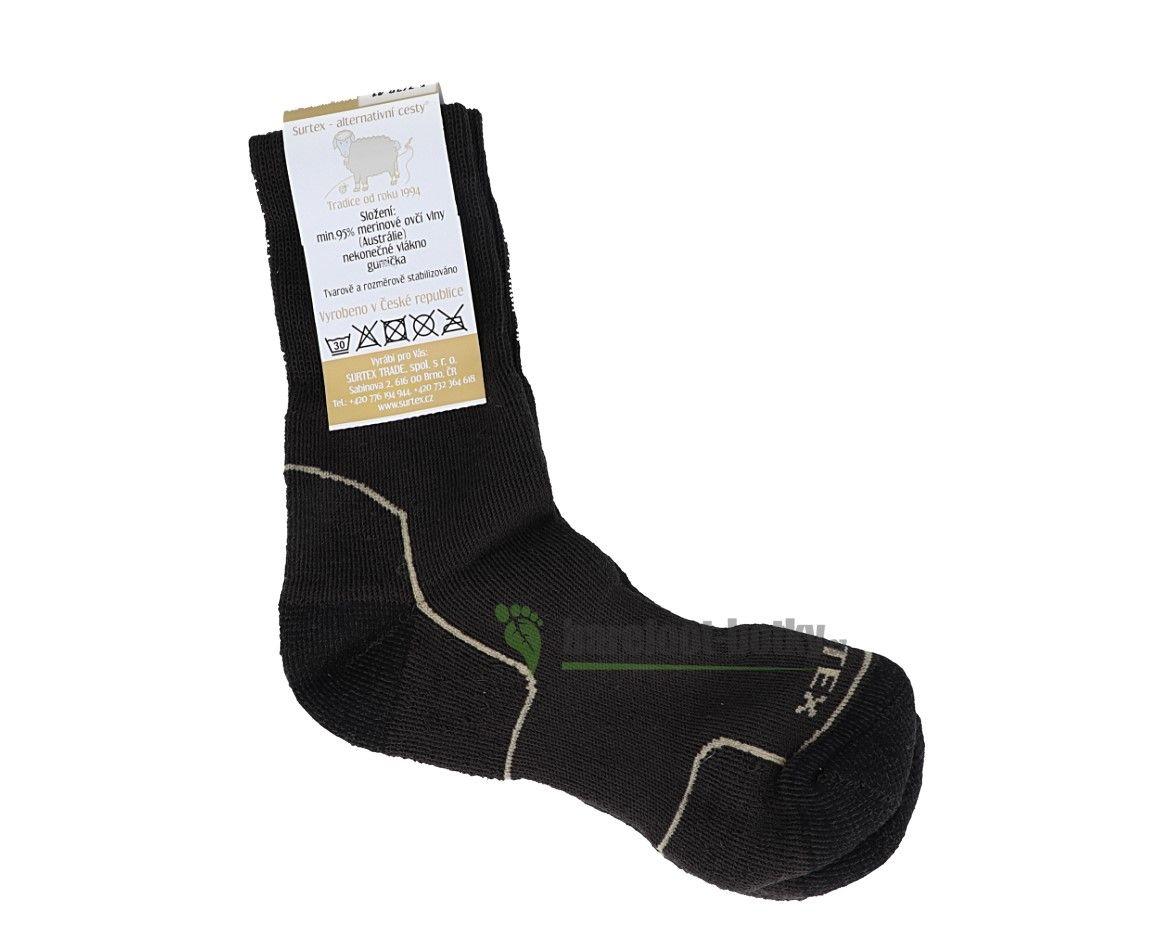 Barefoot Surtex merino ponožky froté tmavě hnědé - volný lem bosá