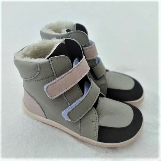 Barefoot BABY BARE WINTER GREY PINK OKOP ASFALTICO BABY BARE SHOES bosá