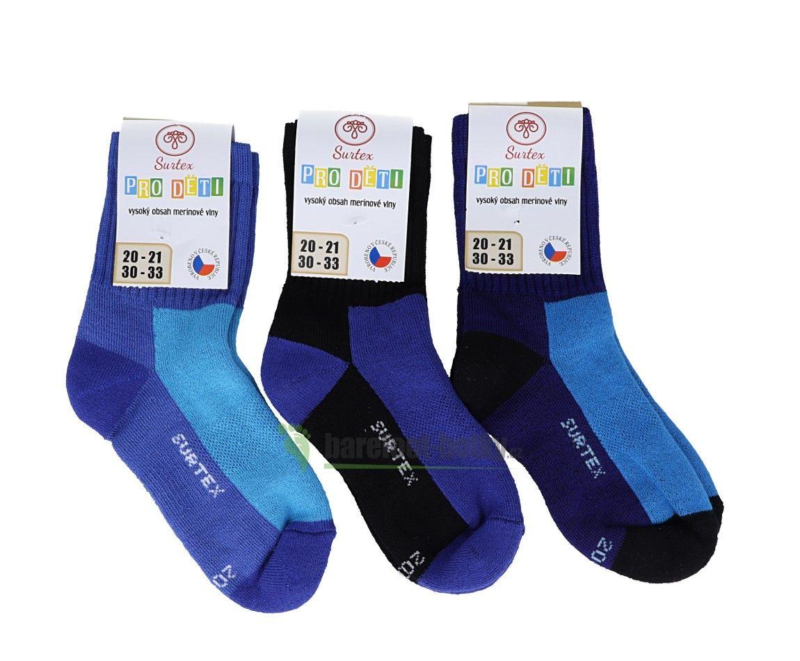 Barefoot Dětské Surtex merino sportovní ponožky froté - modré bosá