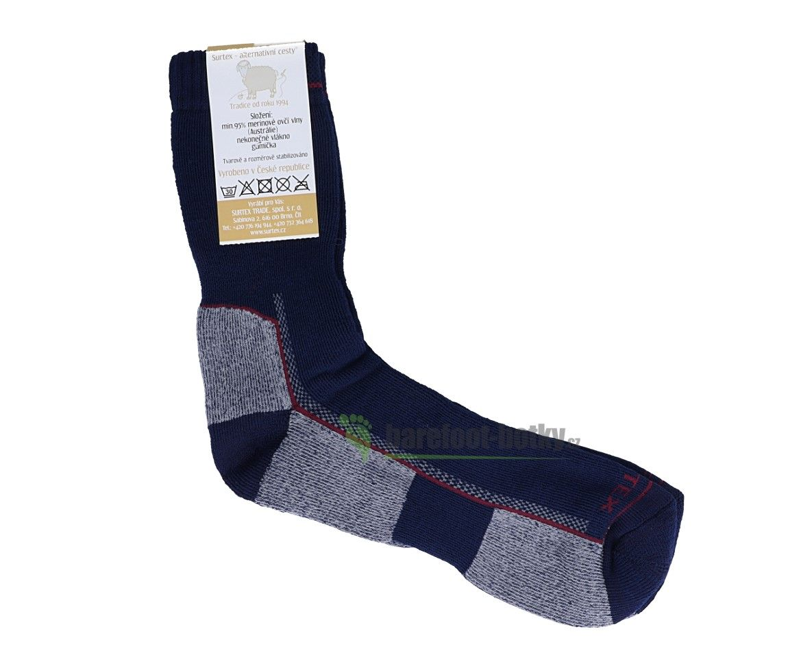Barefoot Surtex ponožky froté - 95 % merino modré bosá