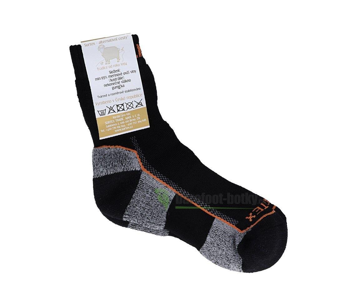 Barefoot Surtex ponožky froté - 95 % merino černé s oranžovým nápisem bosá