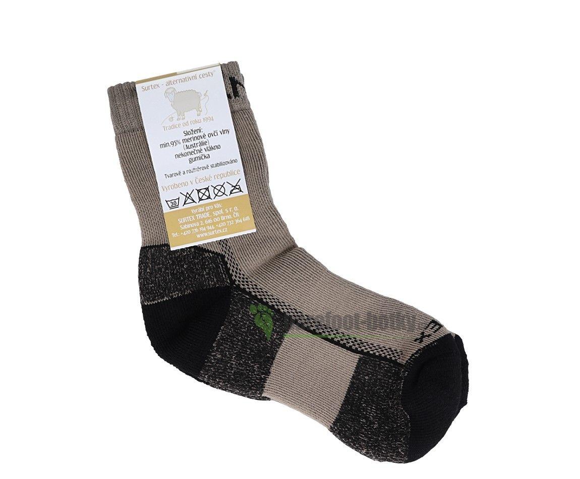 Barefoot Surtex ponožky froté - 95 % merino světle hnědé bosá