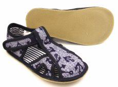 Barefoot Ef barefoot papučky 386 džínové s kotvičku - otevřené bosá