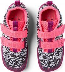 Barefoot Children's barefoot shoes Affenzahn Lowcut Knit Flamingo-Black / White / Pink