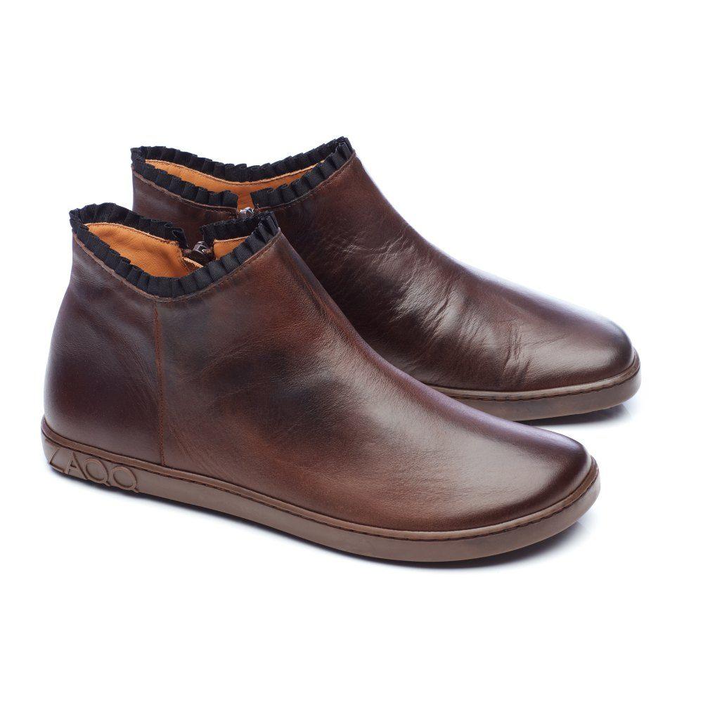 Barefoot Kožené boty ZAQQ CHOQQO Dark Brown bosá