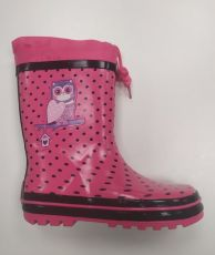 Wolf pink boots with polka dots and owl | 36