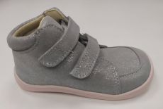 Baby bare shoes Febo Fall gray / pink glittering | 32