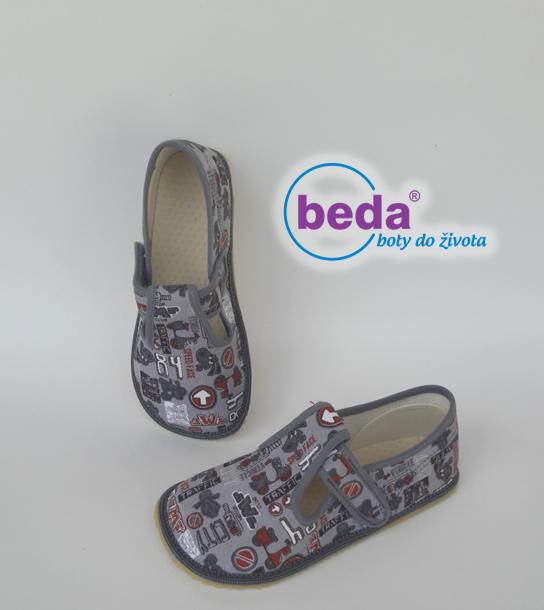 Barefoot Beda barefoot - bačkorky suchý zip - šedé se znaky bosá