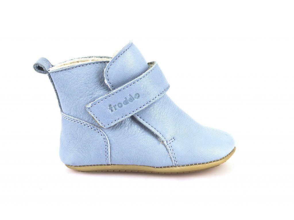 Barefoot Froddo Prewalkers zimní světle modré sheepskin bosá