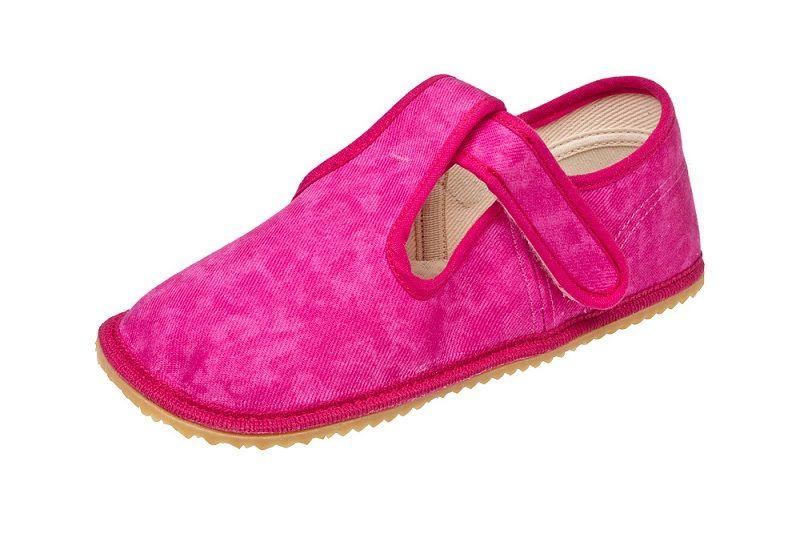 Barefoot Beda barefoot - bačkorky suchý zip - růžová batika bosá