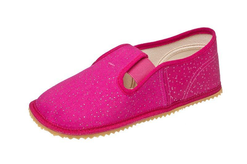 Barefoot Beda barefoot - papučky růžová, třpytivá bosá