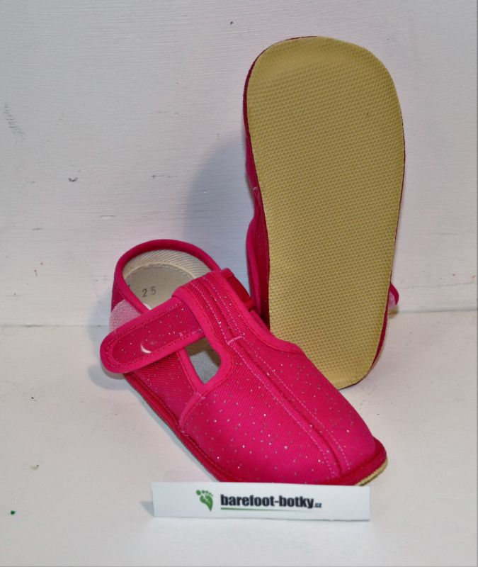Barefoot Beda barefoot - užší bačkorky suchý zip -růžové třpytky bosá