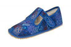 Beda barefoot - bačkorky suchý zip -modré s nápisy
