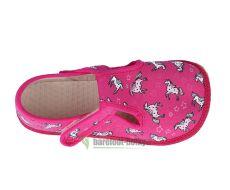 Barefoot Beda barefoot - bačkorky suchý zip - růžová s koníkem bosá