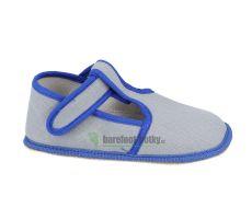 Beda barefoot - užší bačkorky suchý zip - šedé