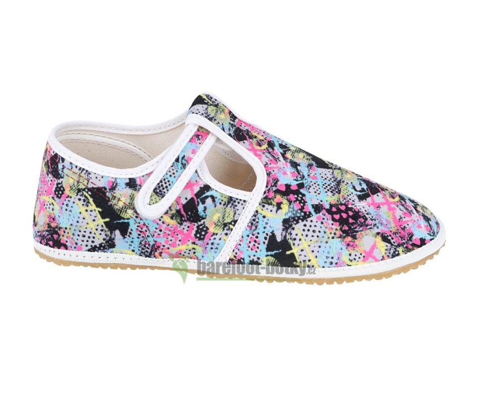Barefoot Jonap papučky šedo-růžové bosá